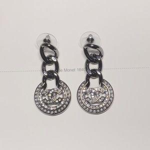 Chanel black crystal pearl logo earrings